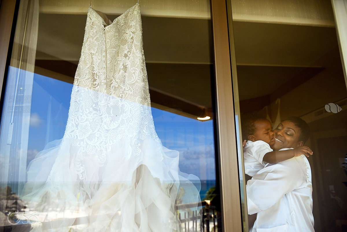Bride and son getting ready destinations wedding Cancun Dreams Riviera Cancun Resort