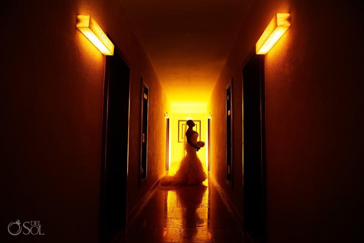 Creative bride silhouette Dreams Riviera Cancun Resort, Mexico