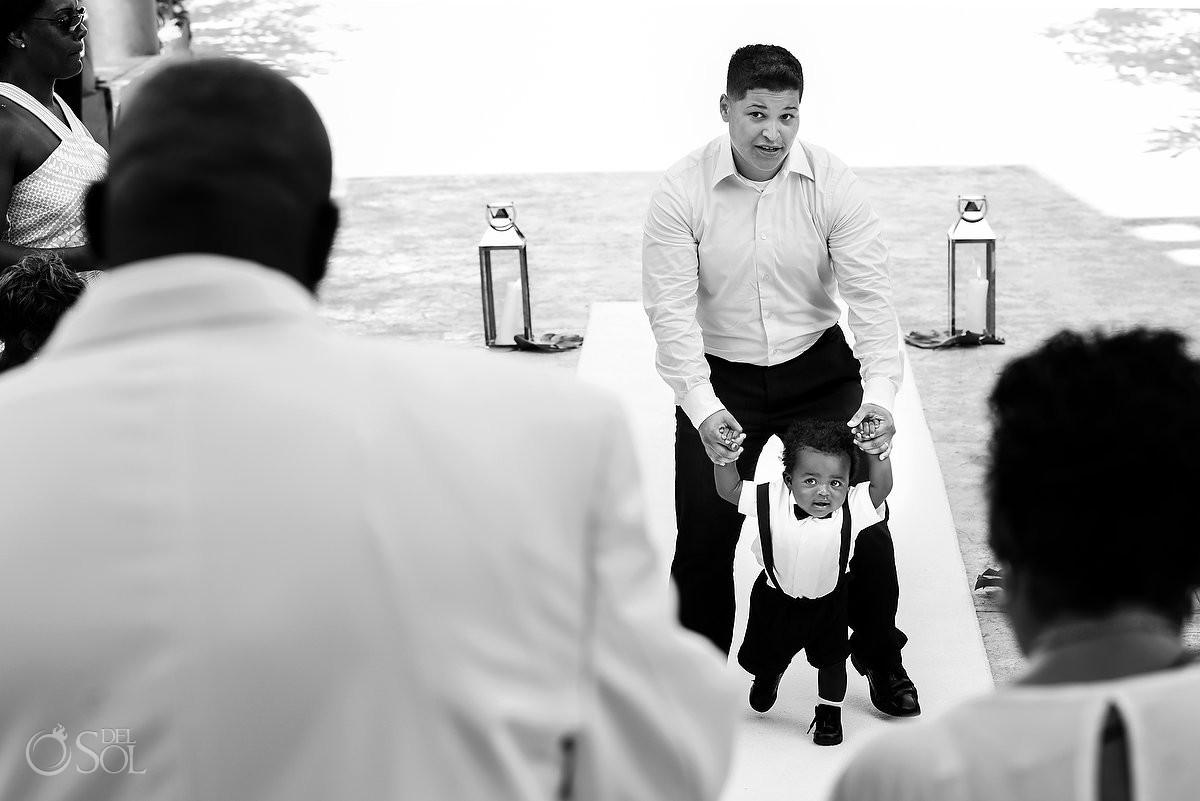 Bride and Groom's son walking Destination Wedding ceremony Dreams Riviera Cancun Resort, Mexico