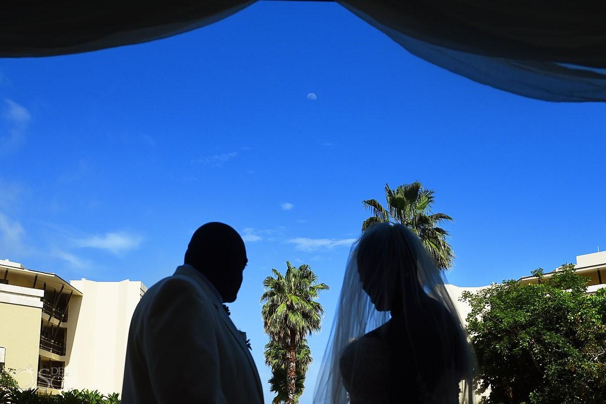 Creative silhouette wedding ceremony area Dreams Riviera Cancun Resort, Mexico