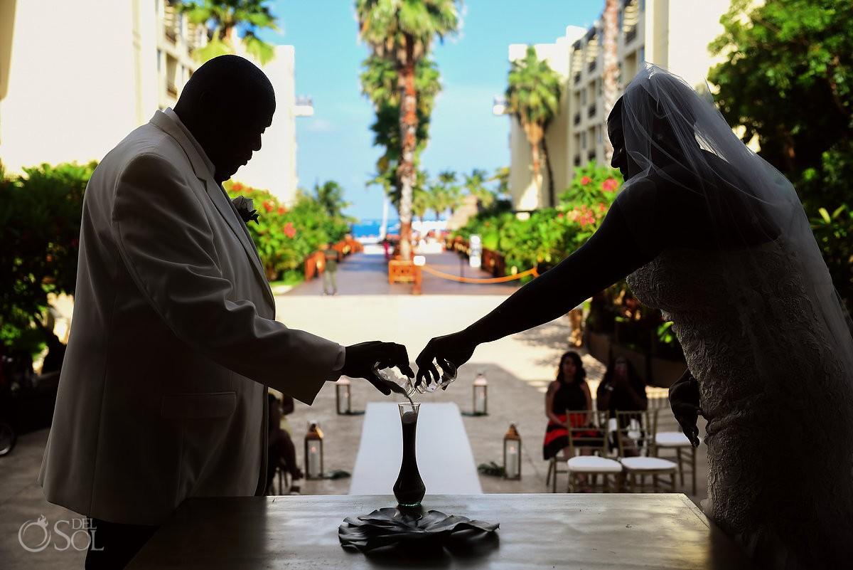 Sand Ceremony bride and groom Destination wedding beach Dreams Riviera Cancun Resort, Mexico