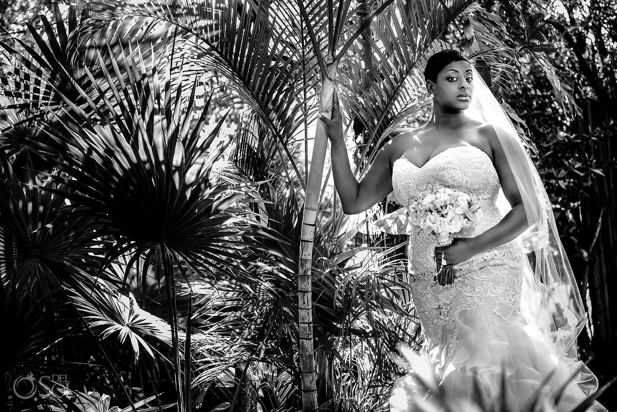 Beautiful Bride Black and white portrait Dreams Riviera Cancun Resort, Mexico