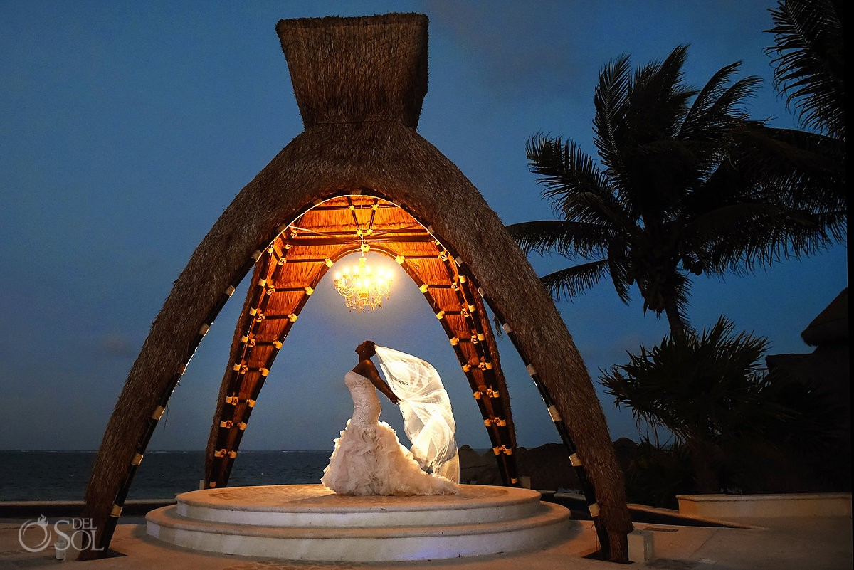 Beautiful bride night portrait vail flying Destination wedding Dreams Riviera Cancun Resort, Mexico