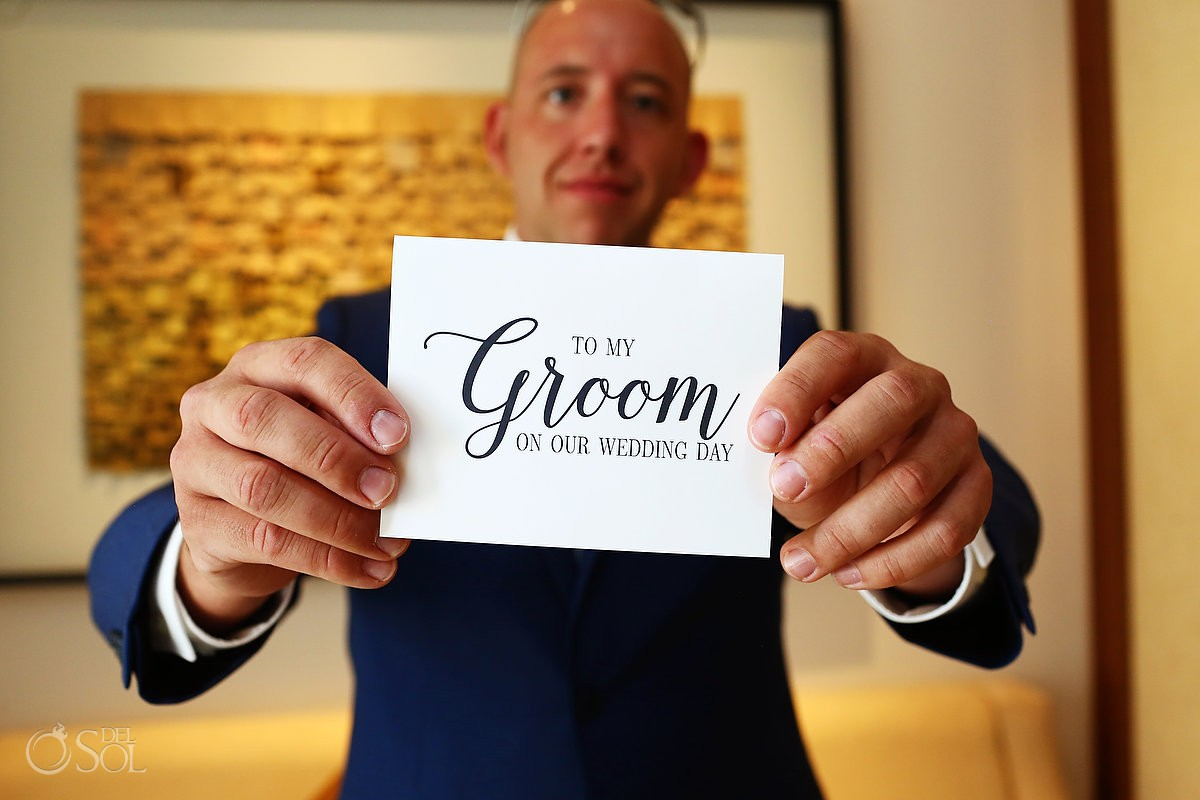 To my groom on our wedding day wedding card idea Secrets Playa Mujeres Golf and Spa Resort