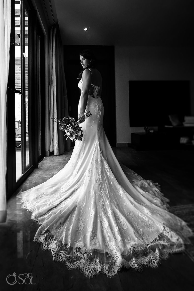 black and white bridal portrait Secrets Playa Mujeres Golf and Spa Resort