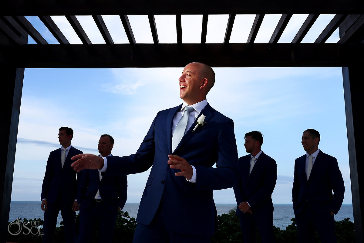creative groom and groomsmen portrait Secrets Playa Mujeres Golf and Spa Resort