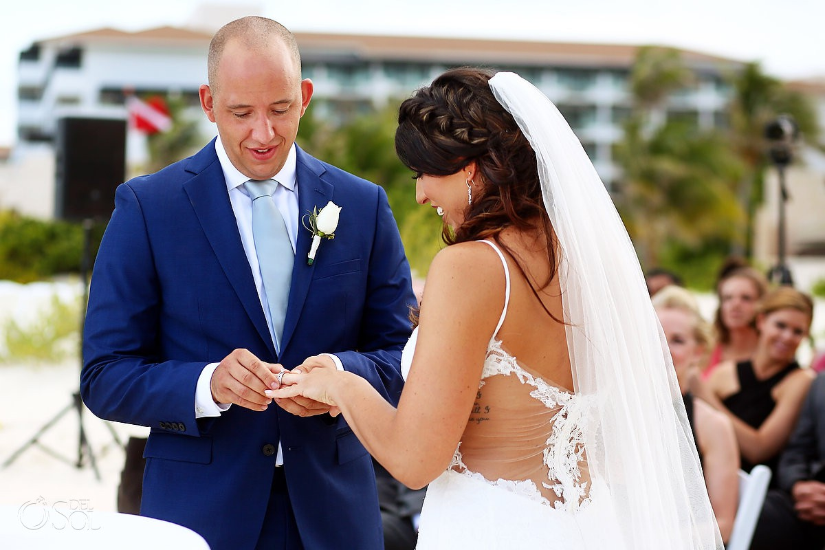 ring exchange beach destination wedding ceremony Secrets Playa Mujeres Golf and Spa Resort