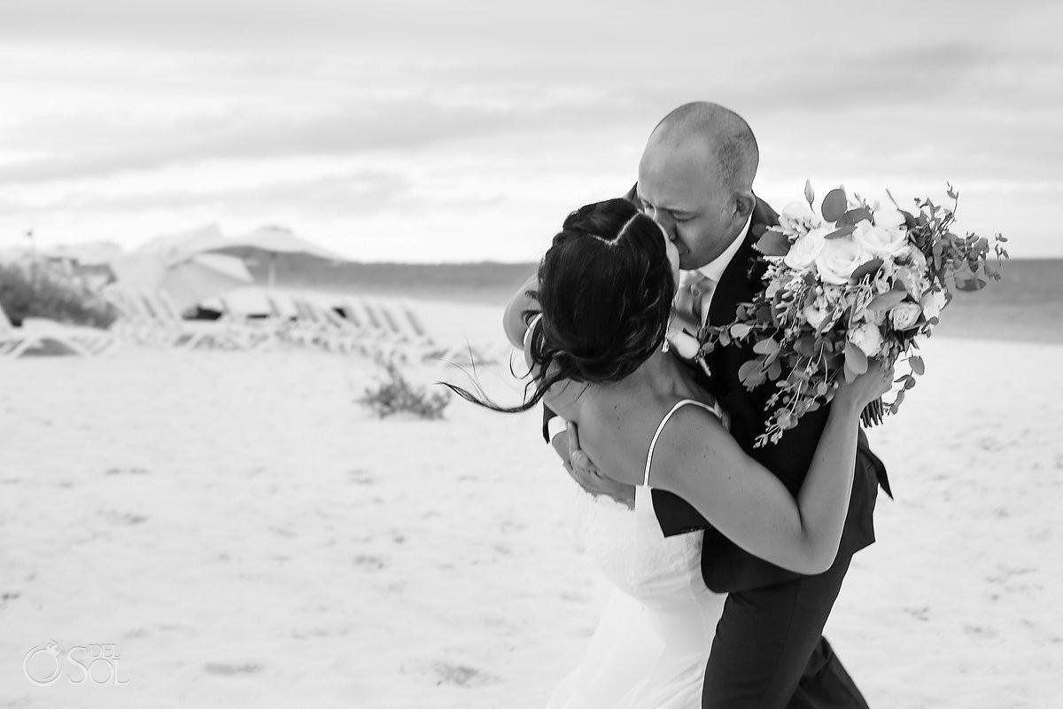 black and white wedding photo kiss dip Secrets Playa Mujeres Golf and Spa Resort