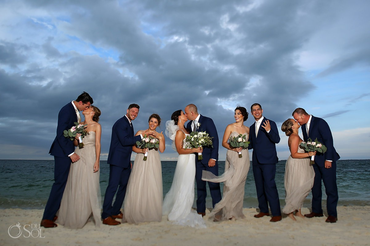 bridal party portrait idea Secrets Playa Mujeres Golf and Spa Resort