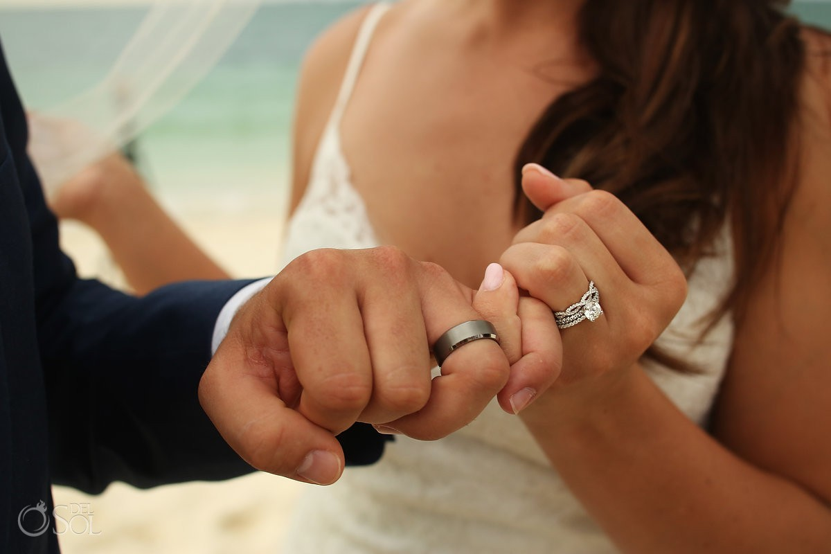 cute wedding photo ideas pinkie promise wedding rings Secrets Playa Mujeres Golf and Spa Resort