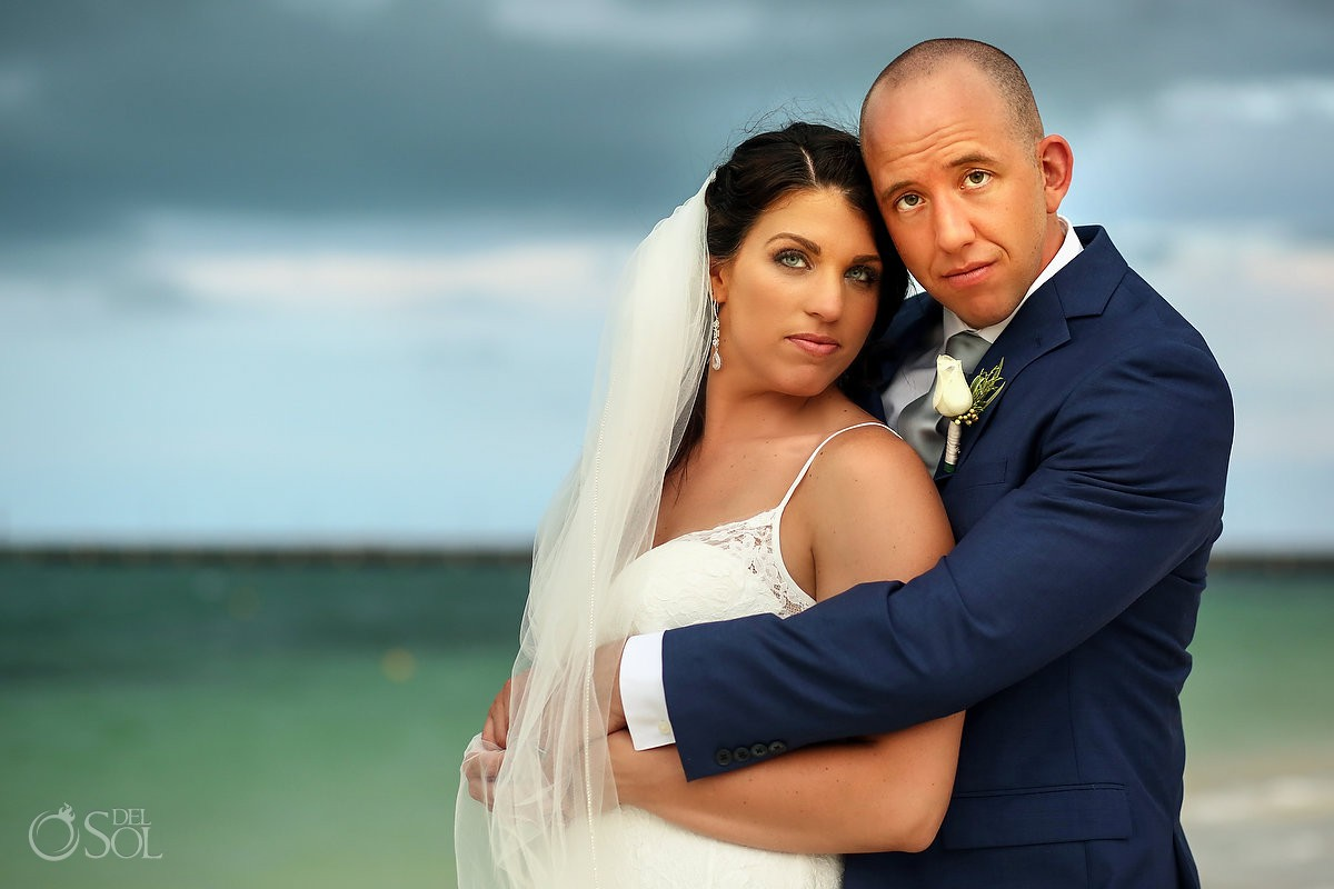 destination wedding bride and groom portrait Secrets Playa Mujeres Golf and Spa Resort