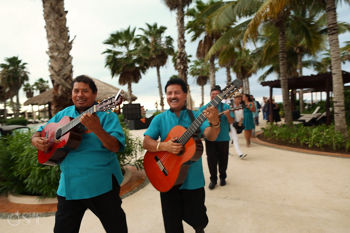 Mexican musicians destination wedding cocktail hour entertainment Secrets Playa Mujeres Golf and Spa Resort