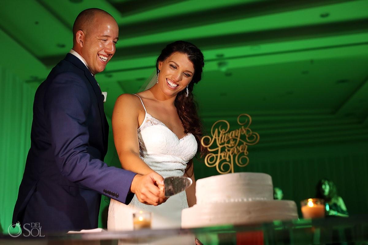 cake cutting destination wedding reception Secrets Playa Mujeres Golf and Spa Resort