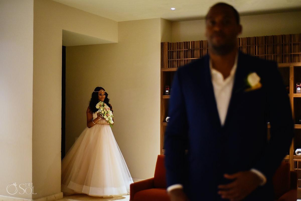 first look bride destination wedding Hyatt Ziva Cancun Mexico