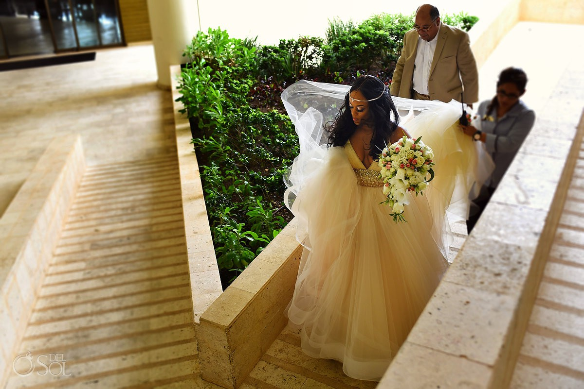 bride walking to cliff side gazebo destination wedding ceremony Hyatt Ziva Cancun Mexico