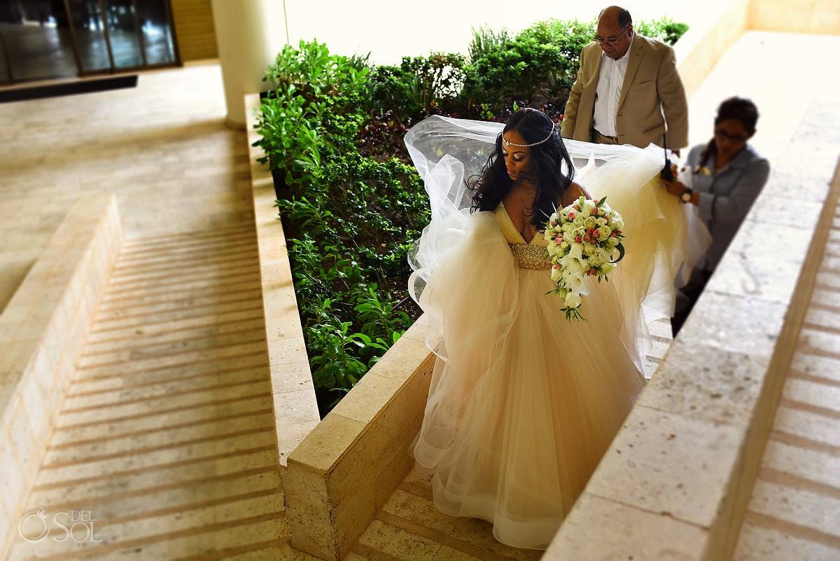 bride walking to cliff side gazebo destination wedding ceremony Hyatt Ziva Cancun Mexico