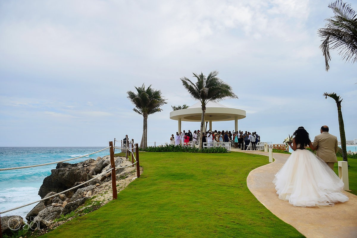 bride entrance cliff side gazebo destination wedding ceremony Hyatt Ziva Cancun Mexico