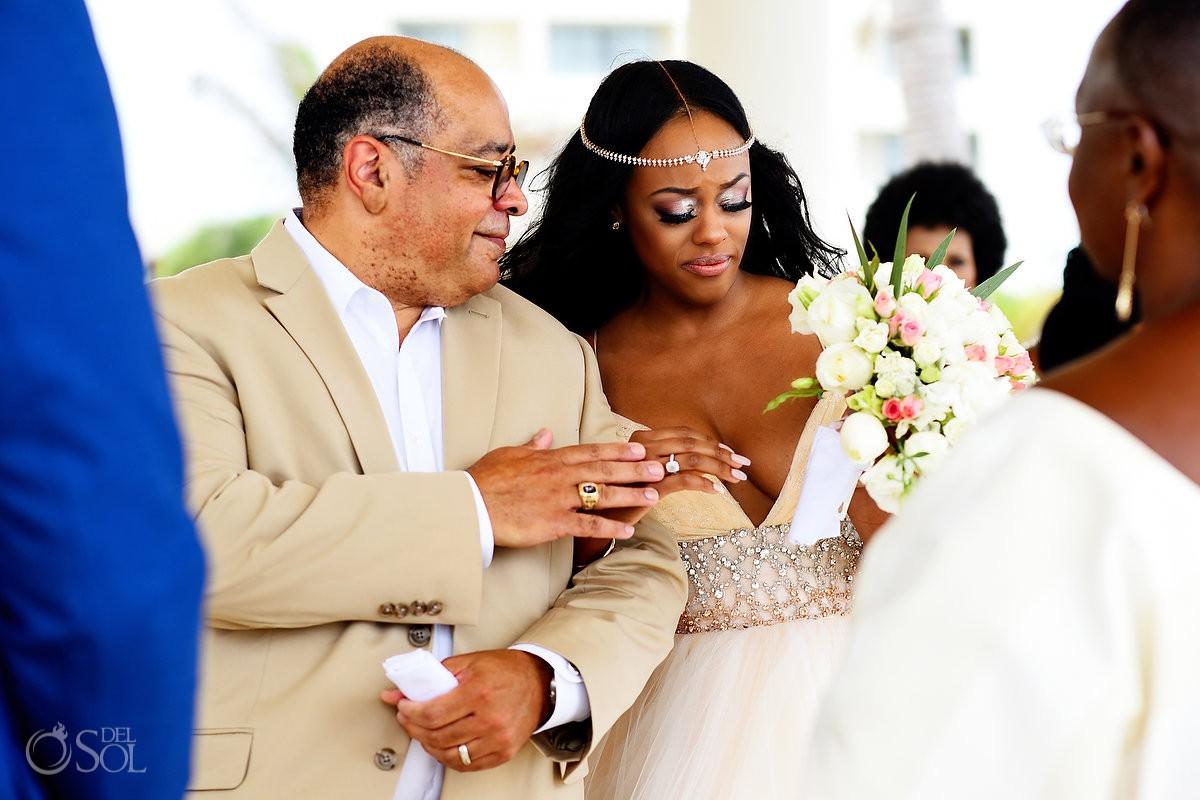 father giving bride away cliff side gazebo destination wedding ceremony Hyatt Ziva Cancun Mexico