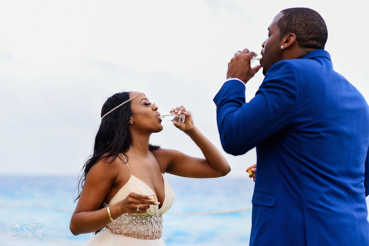 tequila shots cliff side gazebo destination wedding ceremony Hyatt Ziva Cancun Mexico