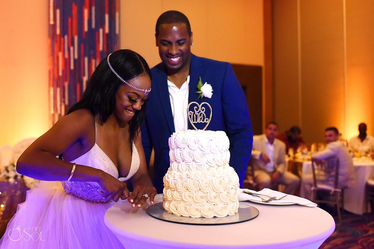 cake cutting destination wedding reception Hyatt Ziva ballroom Cancun Mexico