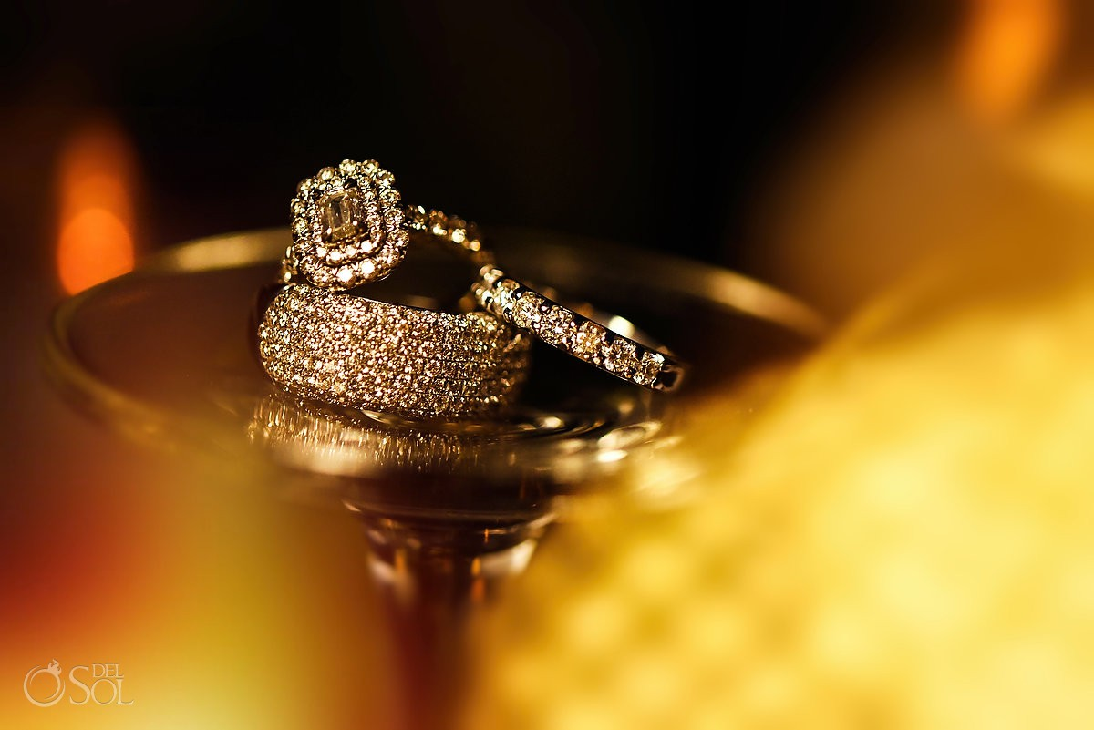 macro wedding engagement ring photo destination wedding reception Hyatt Ziva ballroom Cancun Mexico