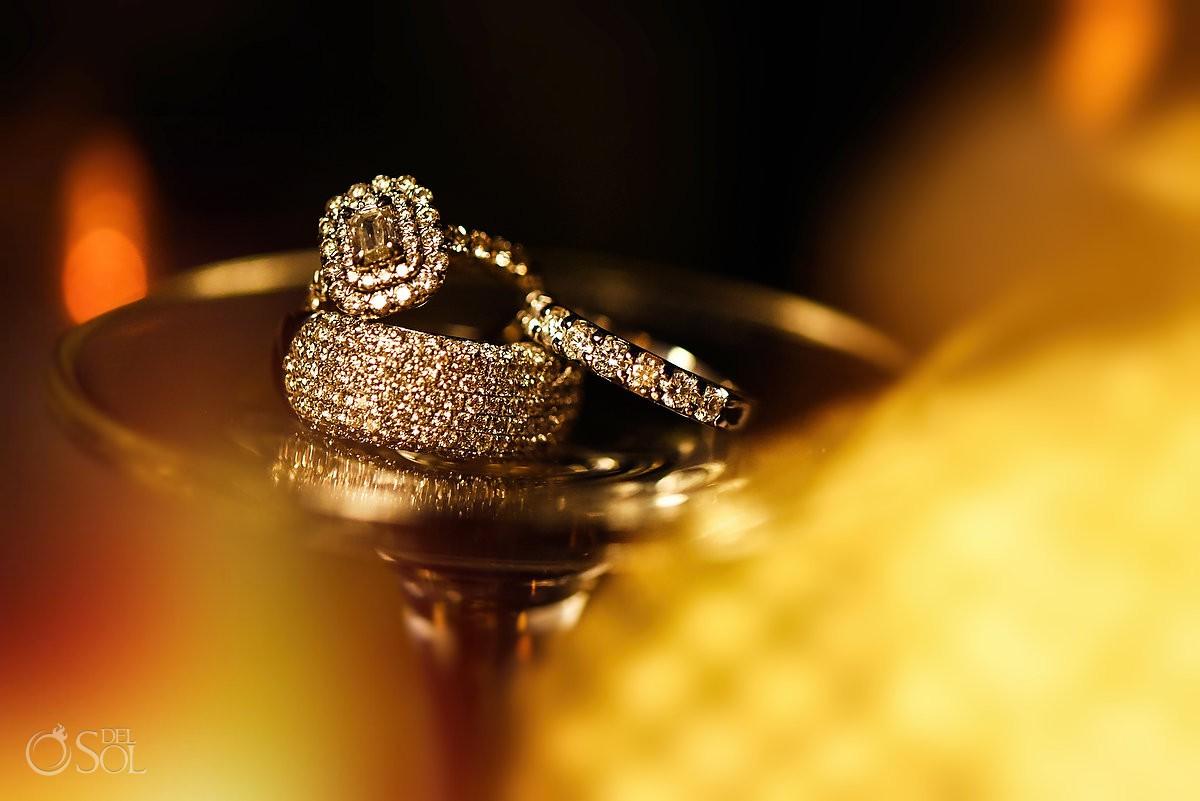 macro wedding engagement ring photo destination wedding reception Hyatt Ziva ballroom Cancun Mexico