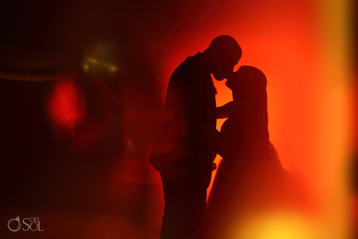 night portrait destination wedding reception Hyatt Ziva ballroom Cancun Mexico