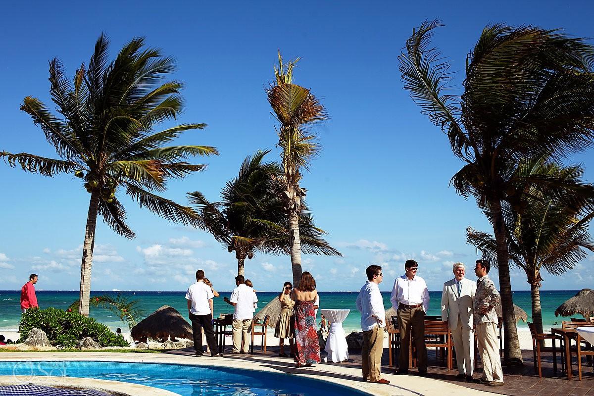 cocktail hour tulum style boutique destination wedding venue Mahekal Beach Resort Playa del Carmen