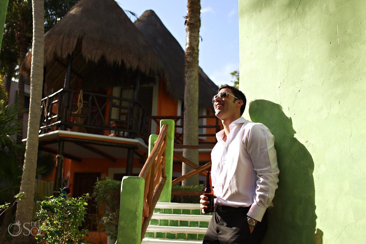 groom portrait destination wedding venue Mahekal Beach Resort Playa del Carmen