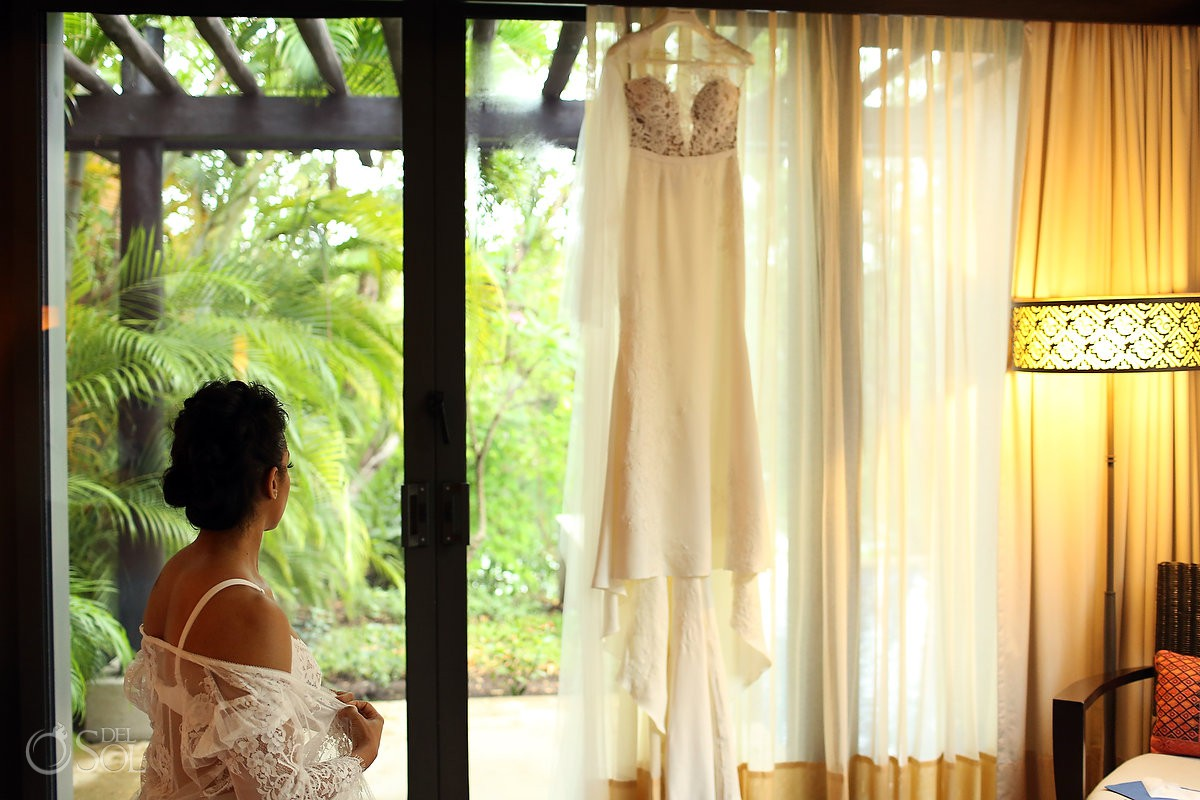 Bride getting ready for her Banyan Tree Mayakoba Wedding wearing lace neglige Playa del Carmen Mexico