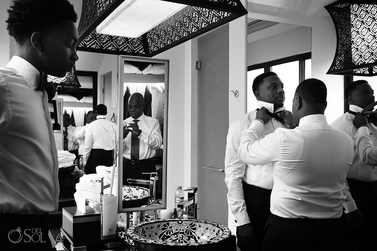Groom getting ready for Banyan Tree Mayakoba Wedding Playa del Carmen Mexico