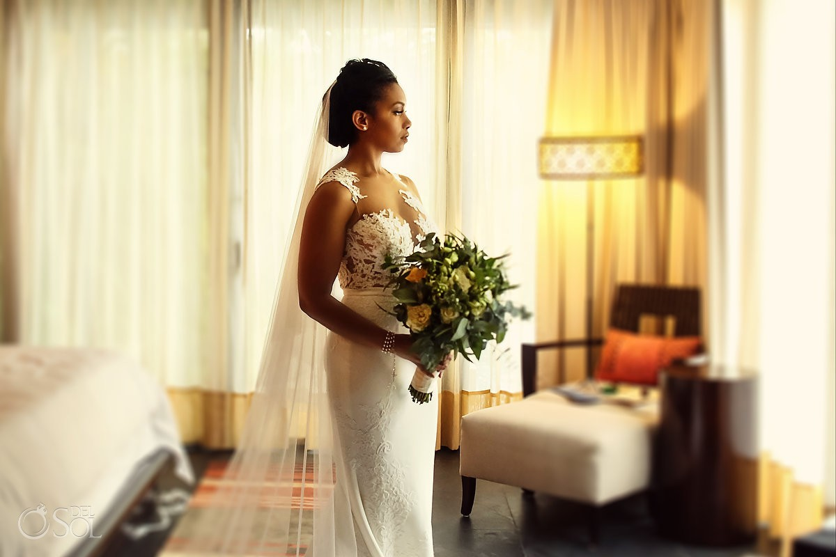 Bride portrait wearing Pronovias wedding dress Banyan Tree Mayakoba Playa del Carmen Mexico
