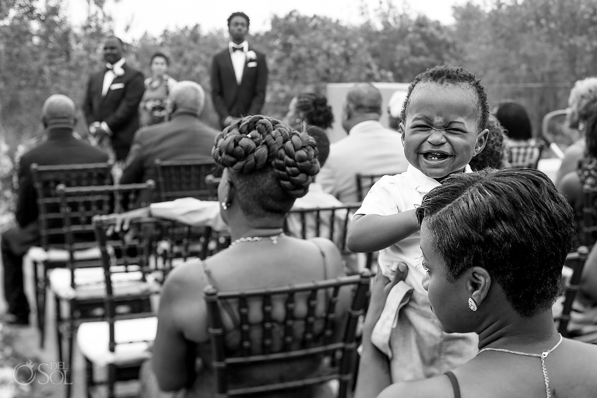 funny wedding photos cute kid smiling Banyan Tree Mayakoba Wedding Playa del Carmen Mexico