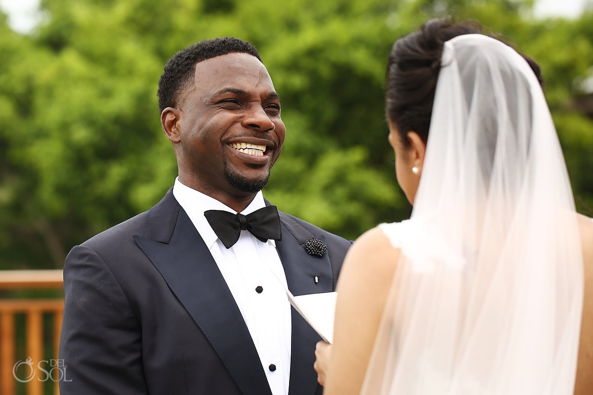 groom reacts to brides vows Banyan Tree Mayakoba Wedding Playa del Carmen Mexico