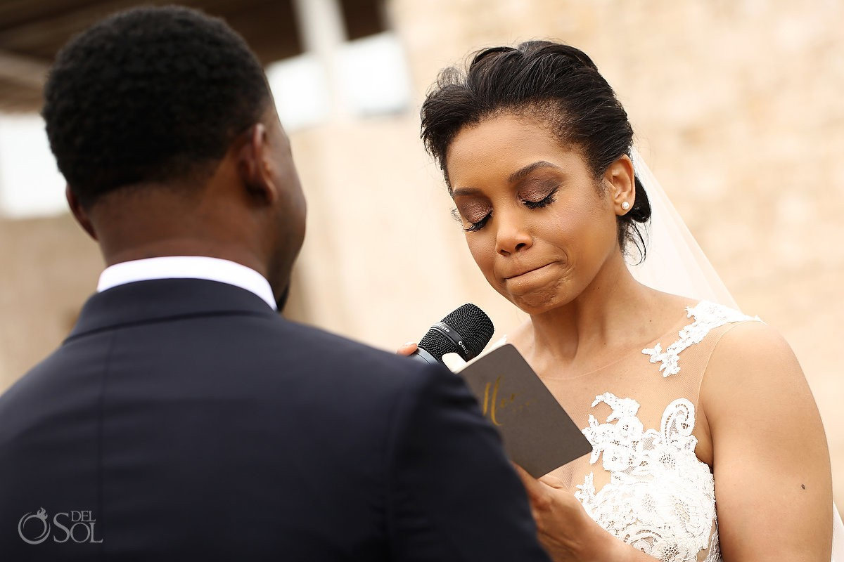 emotional bride reading wedding vows Banyan Tree Mayakoba Wedding Playa del Carmen Mexico