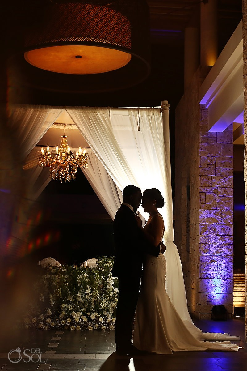 destination wedding reception portrait silhouette Banyan Tree Mayakoba Playa del Carmen Mexico