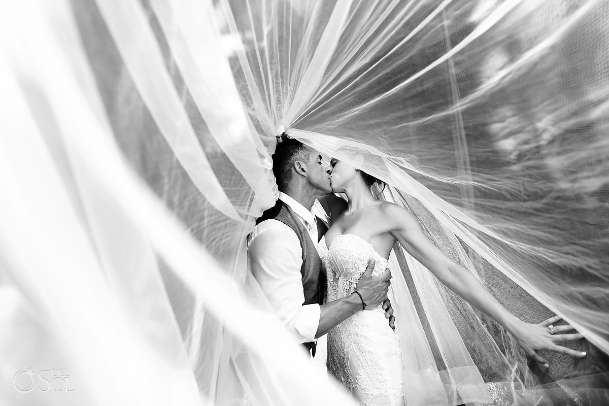 elegant black and white bridal veil shot cenote trash the dress Riviera Maya Mexico