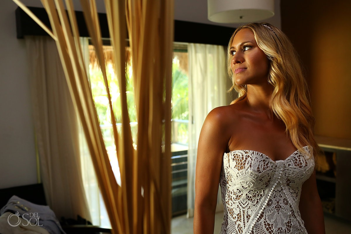 bride getting ready portrait destination wedding El Dorado Maroma Playa del Carmen Mexico