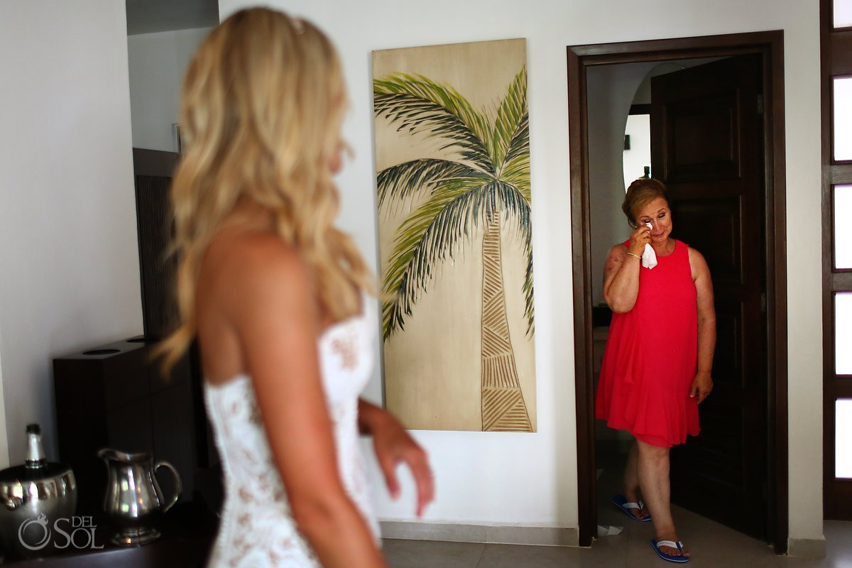 emotional getting ready moment destination wedding El Dorado Maroma Playa del Carmen Mexico