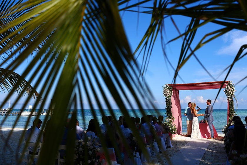beach destination wedding ceremony set up pink gazebo El Dorado Maroma Playa del Carmen Mexico
