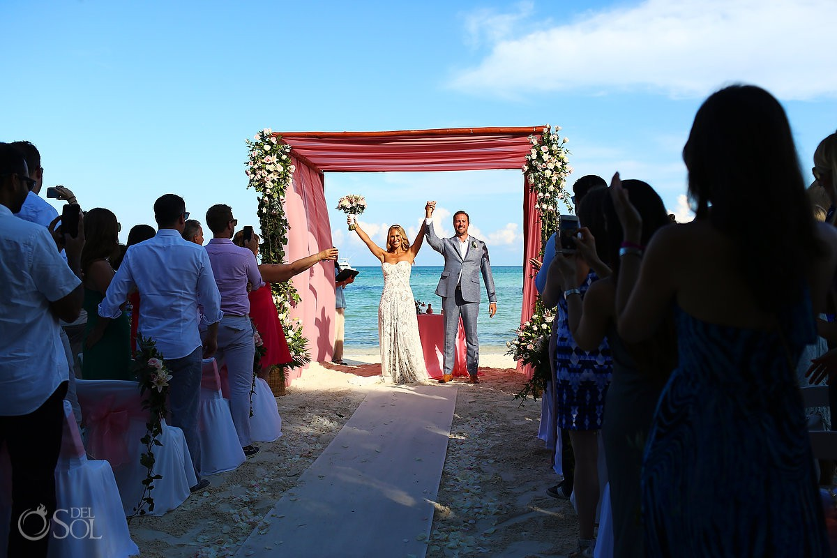 just married celebration destination wedding El Dorado Maroma Playa del Carmen Mexico