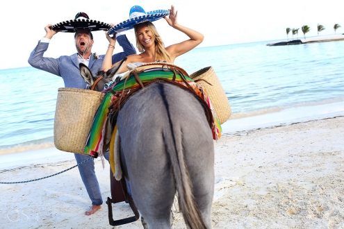 El Dorado Maroma wedding funny wedding photo with donkey and mexican sombreros