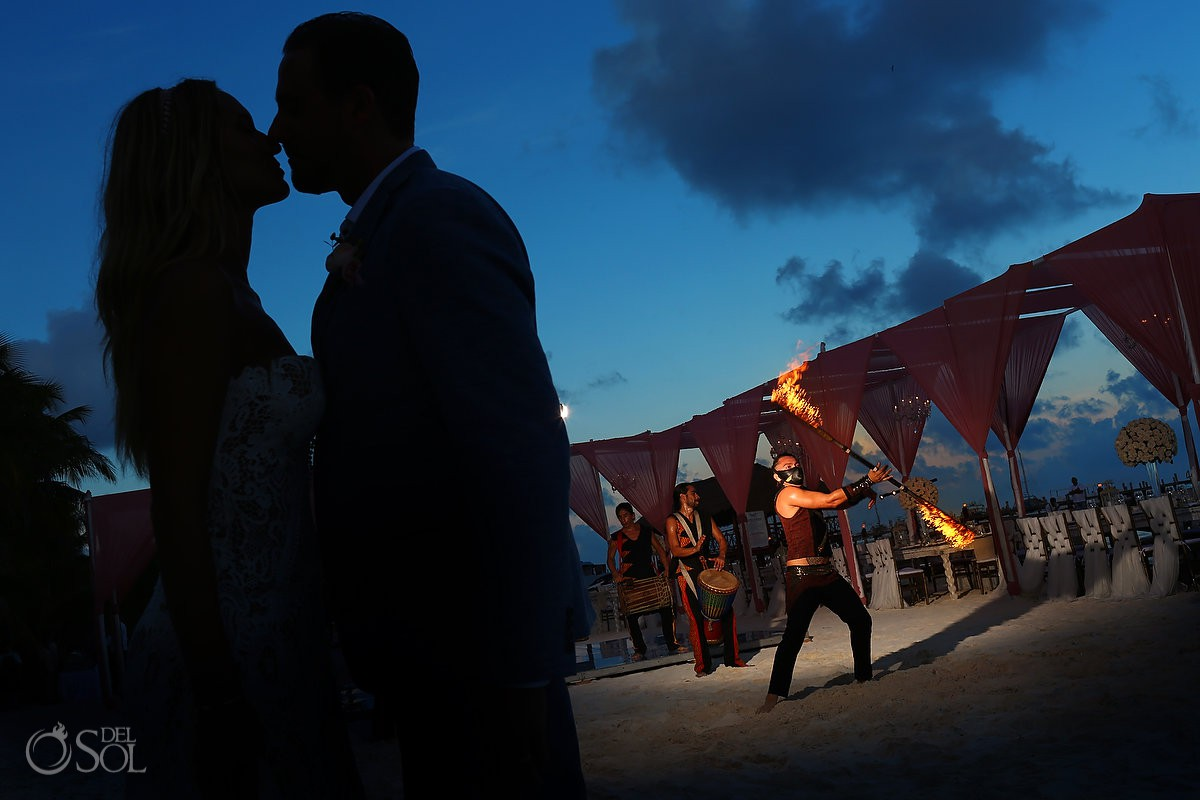 creative bride and groom silhouette destination wedding El Dorado Maroma Playa del Carmen Mexico