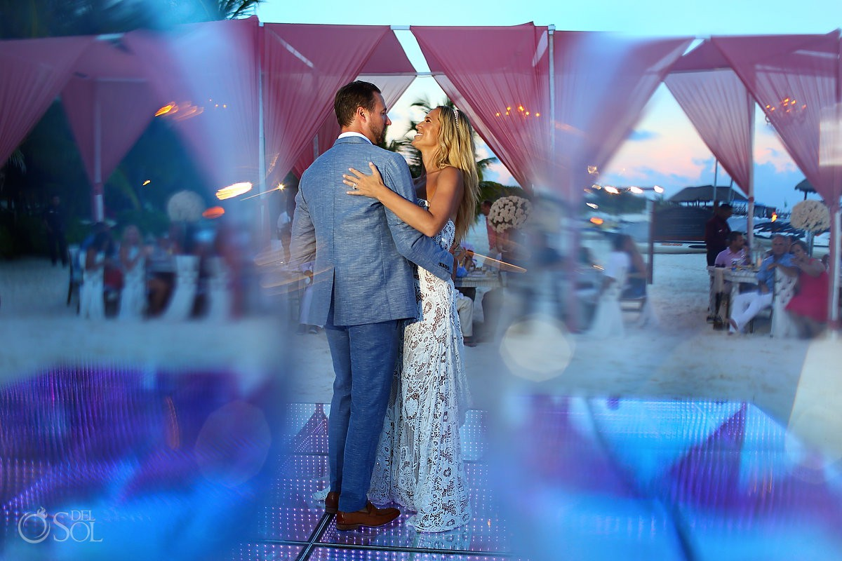 first dance beach wedding reception El Dorado Maroma Playa del Carmen Mexico
