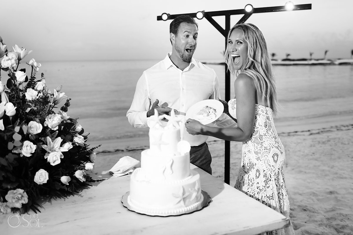 cake cutting beach wedding reception El Dorado Maroma Playa del Carmen Mexico
