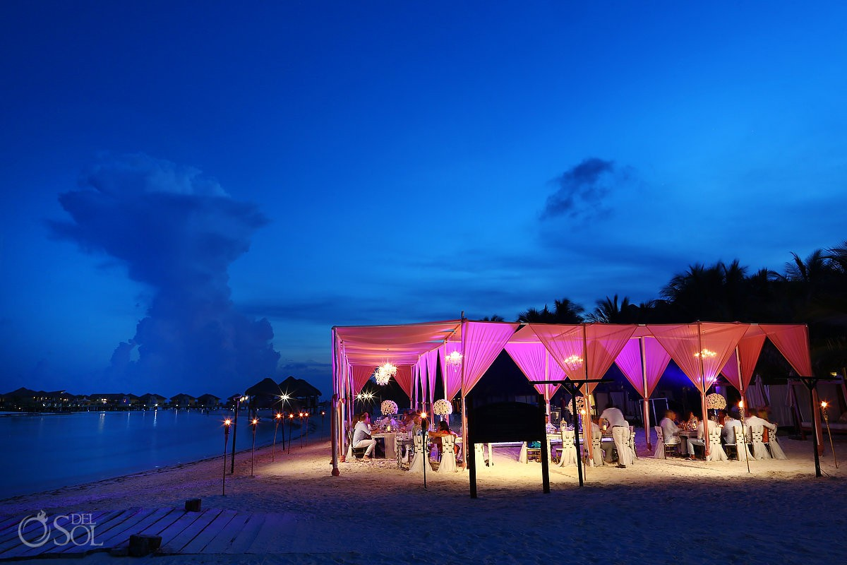 destination wedding reception set up El Dorado Maroma Playa del Carmen Mexico