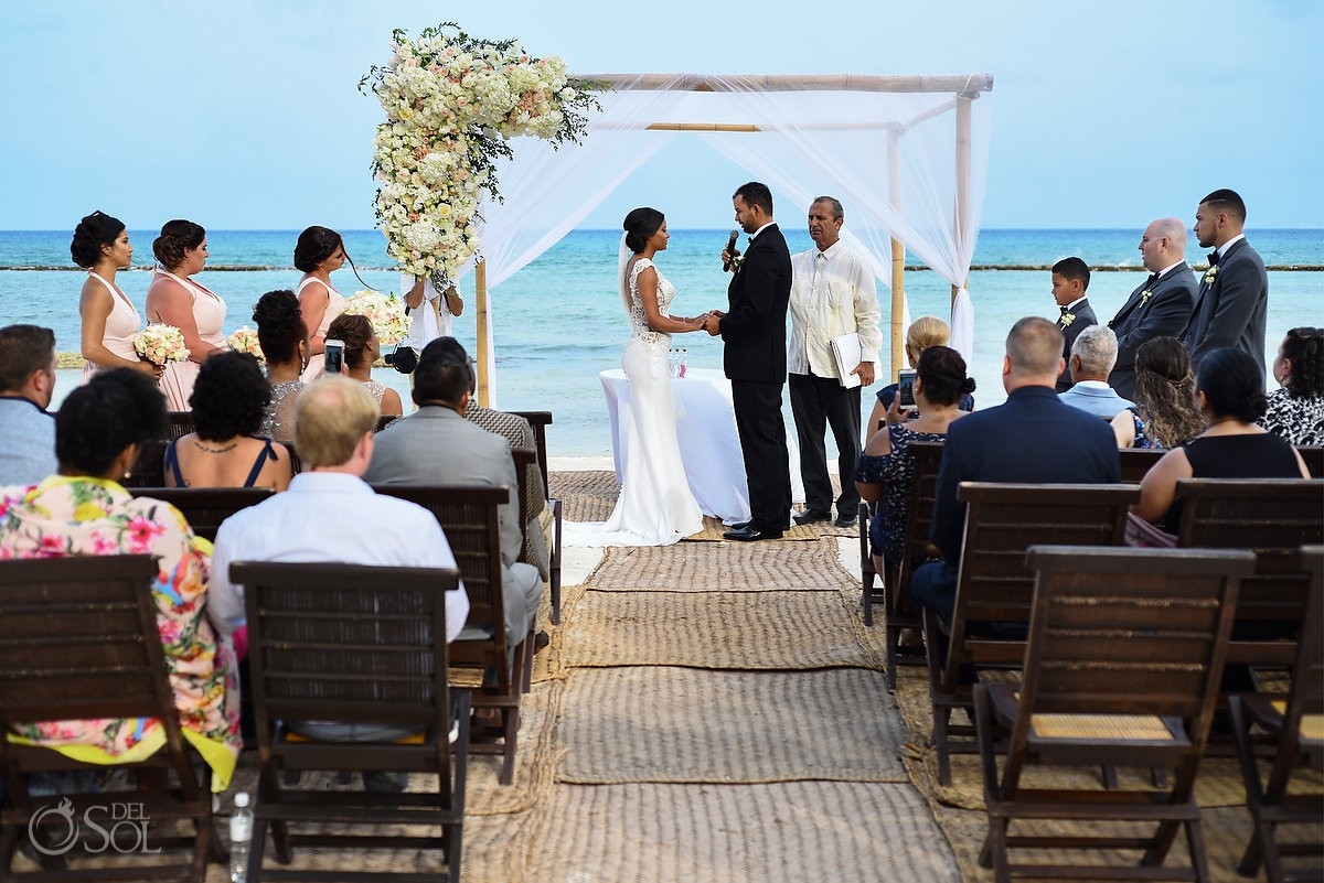 Beach wedding ceremony Grand Velas Riviera Maya Playa del Carmen Mexico.