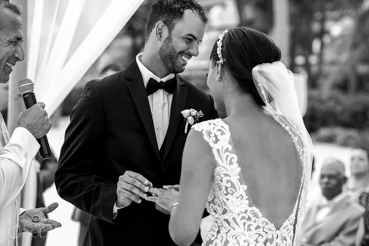 Wedding exchange rings bride and groom Grand Velas Riviera Maya Playa del Carmen Mexico.