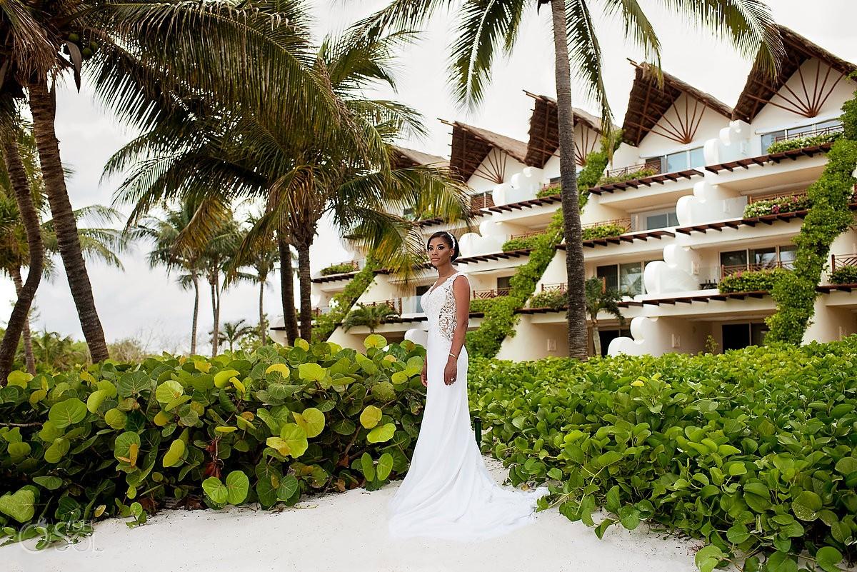 Bride wedding portrait Grand Velas Riviera Maya Playa del Carmen Mexico.