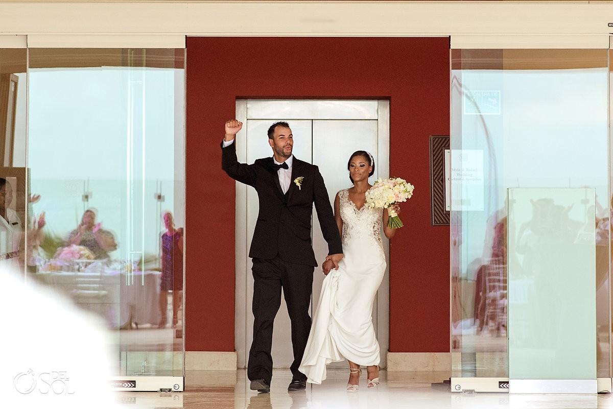 Bride and groom reception entrance Grand Velas Riviera Maya Playa del Carmen Mexico.